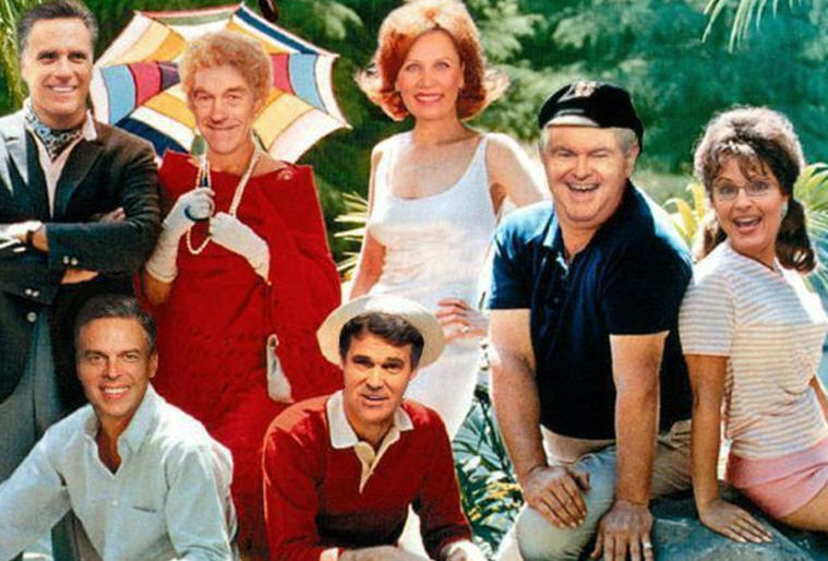 Romnilligans' Island - A Photoshopped depiction of the right establishment (by the left)  as the  cast of Gilligans Island. Funny...